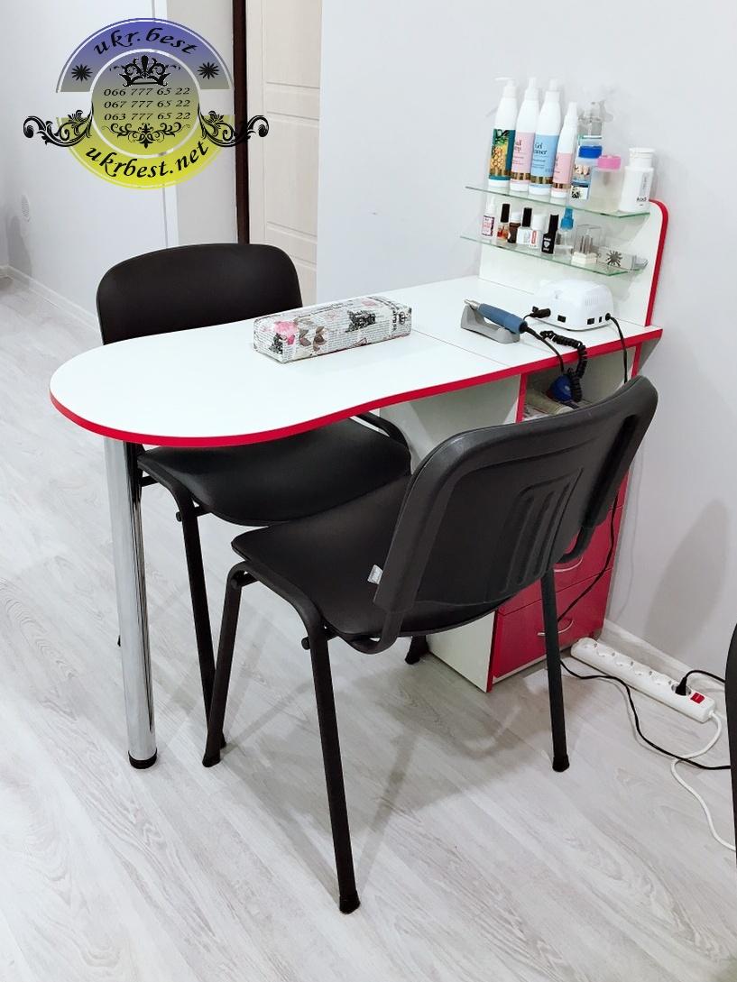 Профессиональный складывающийся компактный маникюрный стол с 3 выдвижными ящиками на телескопических направляющих, 2 стеклянными полочками для лаков. Цвета в ассортименте в наличии, цена от производителя в Украине - UkrBest мебель.