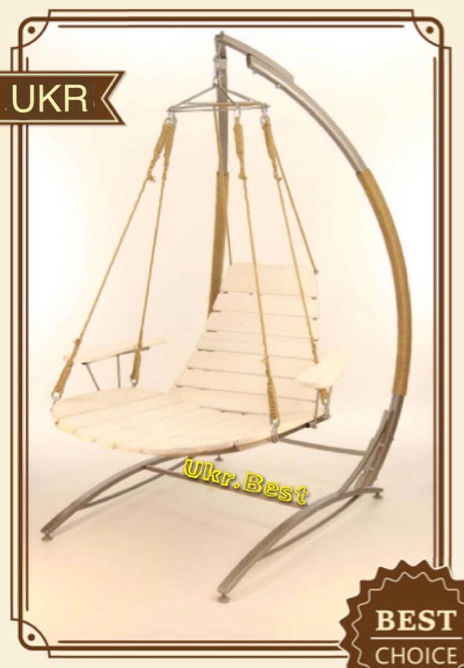 Подвесное кресло качели Эго - цвет белое дерево, бежевая стойка