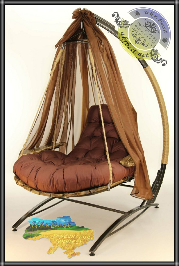 Заказать коричневое подвесное кресло качели Эго в Украине