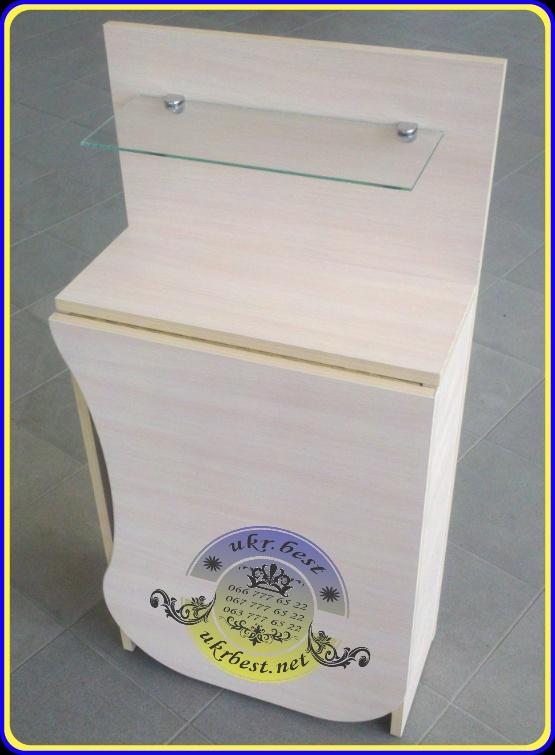 """Складывающийся компактный маникюрный стол с вырезом для мастера, стеклянной полочкой для лаков. Заказать недорого рабочее место мастера маникюра - в интернет-магазине производителя мебели """"UkrBest"""", Украина, Киев."""