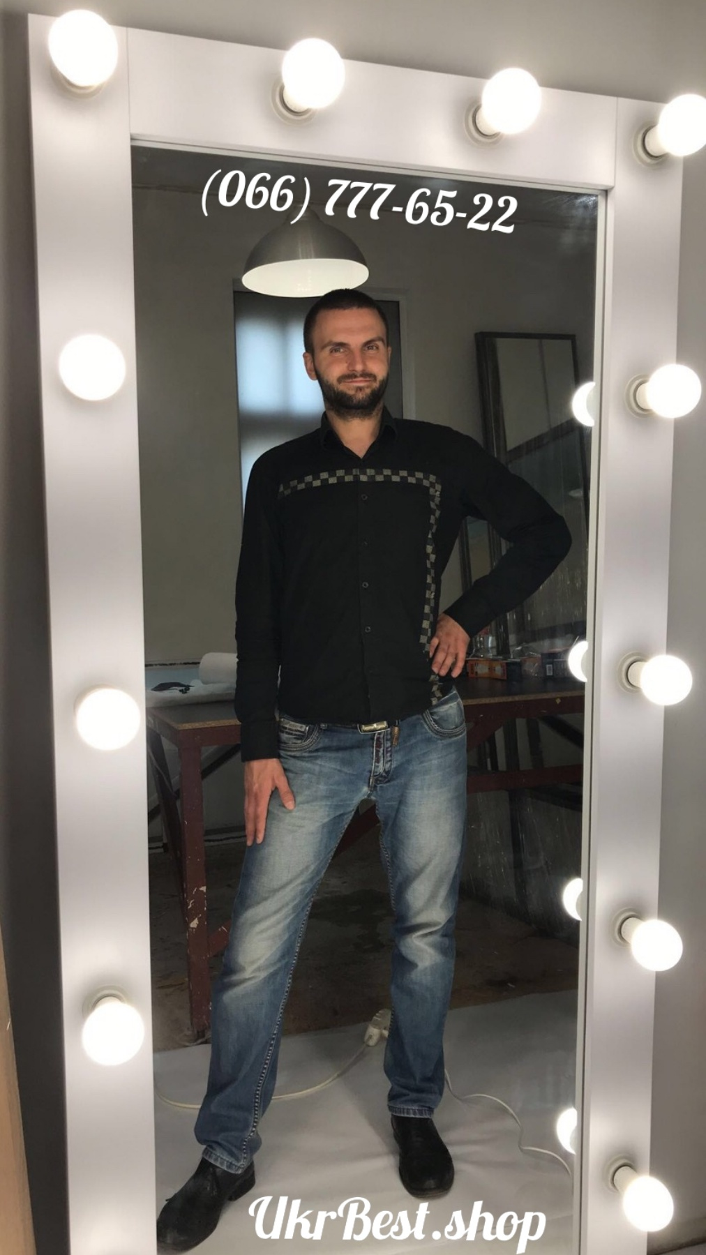 Зеркало с подсветкой лампочками во весь рост - мебель УкрБест